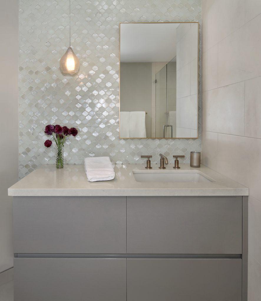girls bathroom glass tile